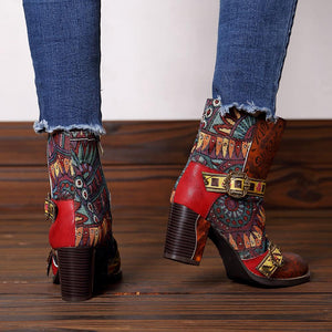 Vintage Ethnic Style Stitching Side Buckle High Heel Boots