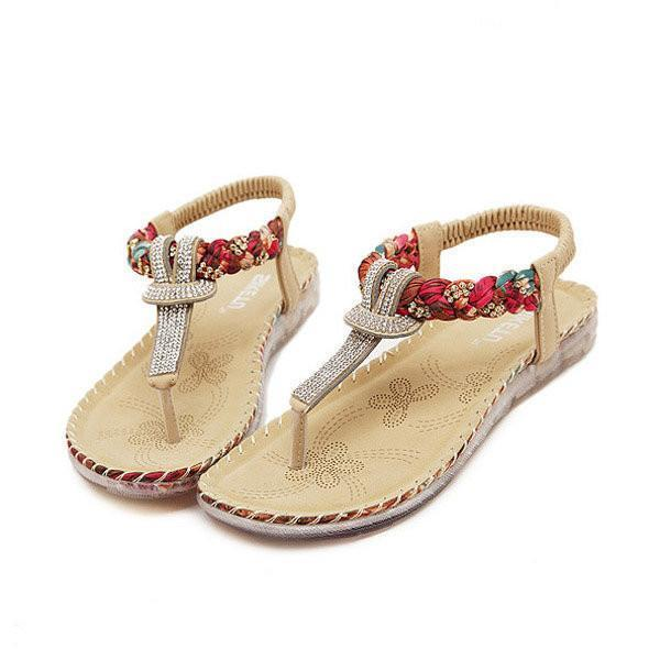 Bohemian Bead Floral Elastic Clip Toe T Strap Slip On Flat Beach Sandals