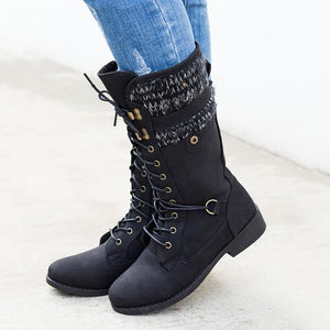 Women Plus Size Top Knit Boots Winter Warm Pu Boots