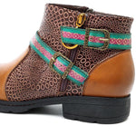 New Printing Retro Pattern Buckle Flat Ankle Leather Boots