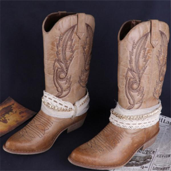 Women's Vintage Ethnic Rhinestone Embroidery Mid-Calf  Boots