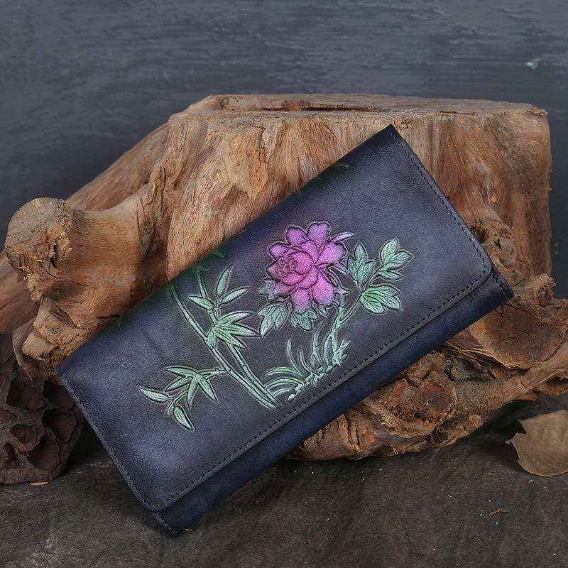 Retro Ethnic Style Hand-Painted  Genuine Leather Long Wallets