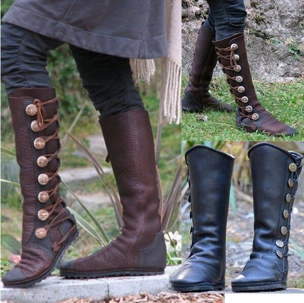 Women's  Vintage Studded Stitching Button Boots