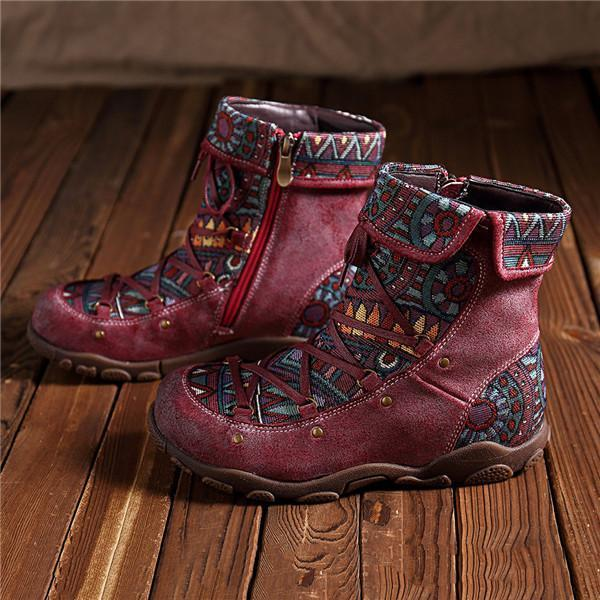 Casual Comfy Genuine Leather Splicing Jacquard Lace Up Zipper Flat Boots