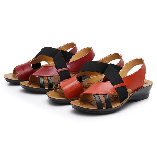 Women Slip On Hollow Breathable Leather Flat Sandals