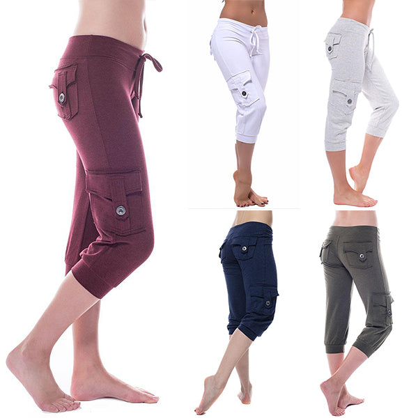 Eco-friendly Bamboo Pocket Stretchy Capris Workout Running 4 Way Stretch Yoga Pants