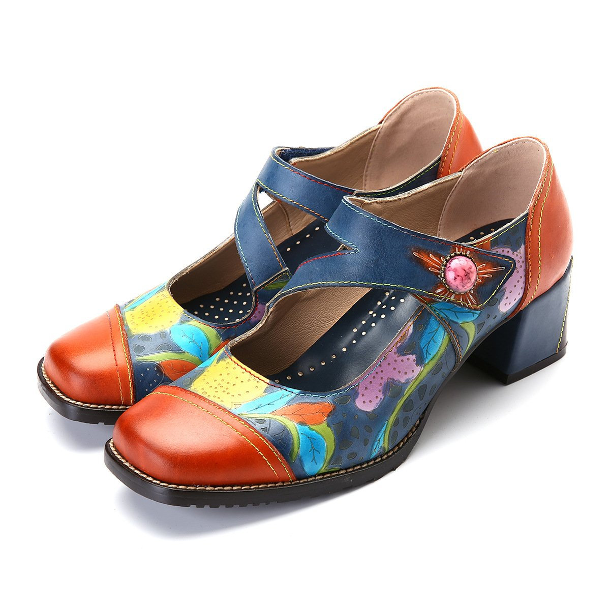 Women's Retro Handmade Ankel Boots Flowery Leather Upper Mary Jane Shoes