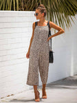 Casual Leopard Printed Romper Off Shoulder Wide Leg Pants Jumpsuit