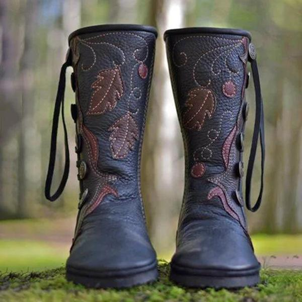 Women 's Retro Casual Comfortable Handmade Button Leather Boot