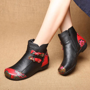 Women's Vintage Ethnic Style Leather Bow boots