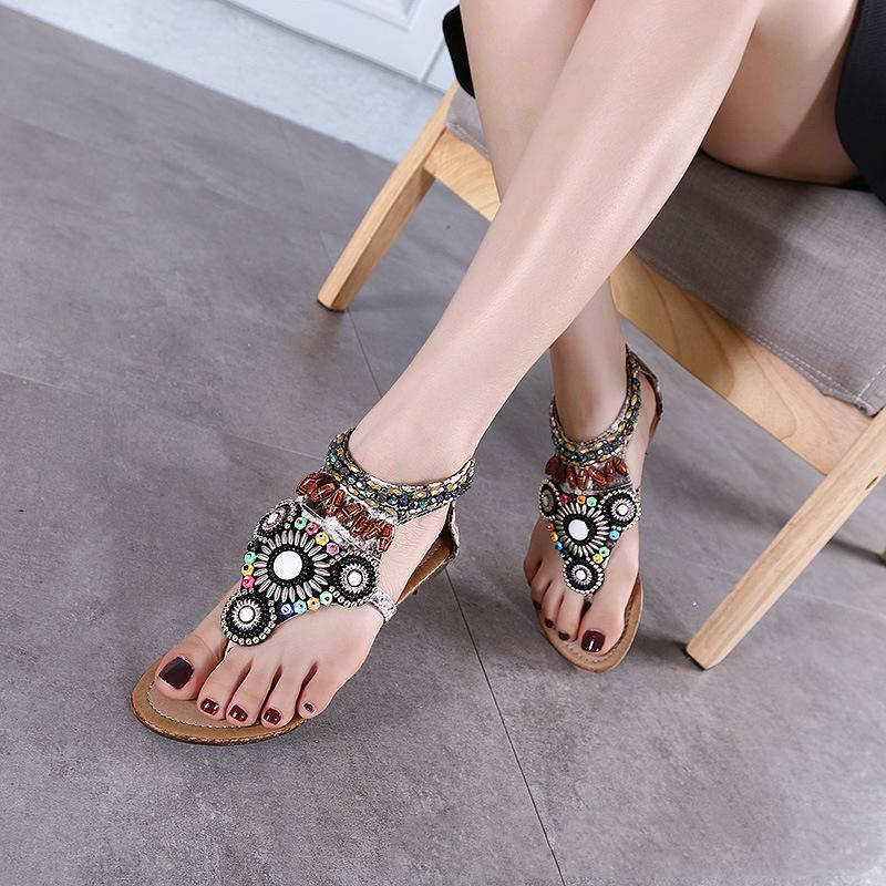 Women's Bohemian Ethnic Wind Toe Flat Sandals