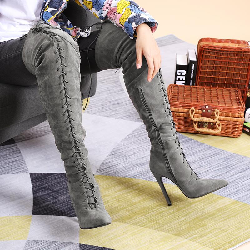 Women'S Pointed Toe Long Tube Stiletto Straps  Knee Boots