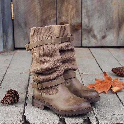 Comfy Cabin Sweater Boots Vintage PU Paneled Adjustable Buckle Casual Boots