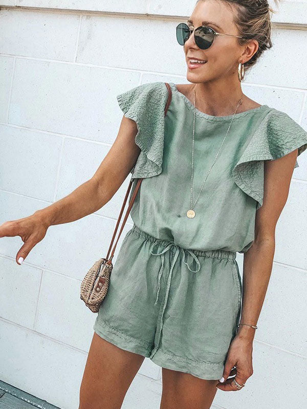 Ruffled Pocket Sleeveless Lace-up Short Jumpsuit