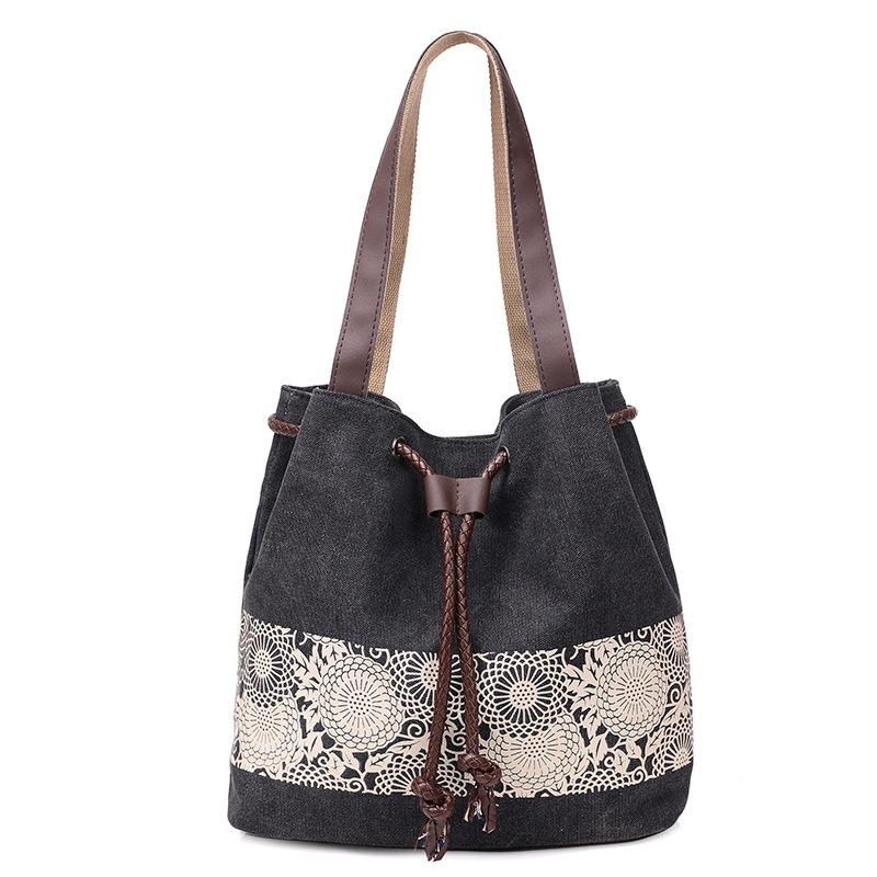 Simple  Stylish Ethnic Style Print Shoulder Canvas Bags