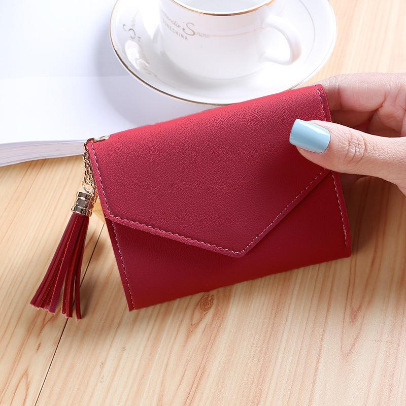 Women's  Fashion Tassel Portable Short Wallet