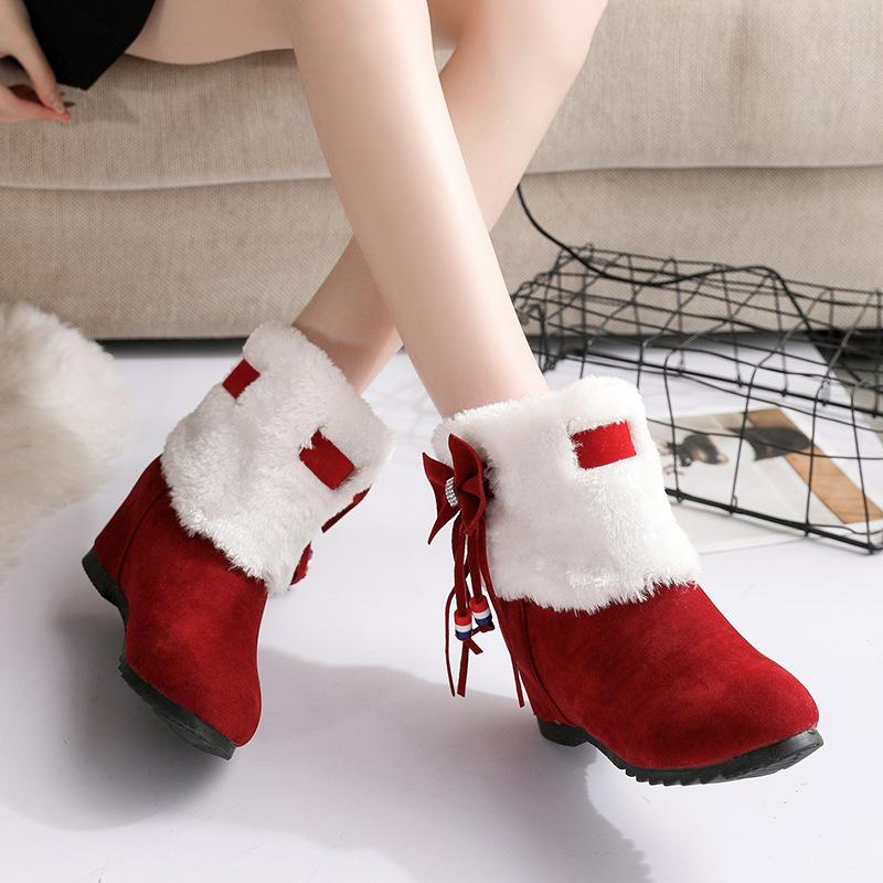 Christmas Plus Velvet Bow Snow Boots