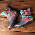 Genuine Leather Splicing Colorful Stripes Flower Pattern Buckle Flat Zipper Ankle Boots