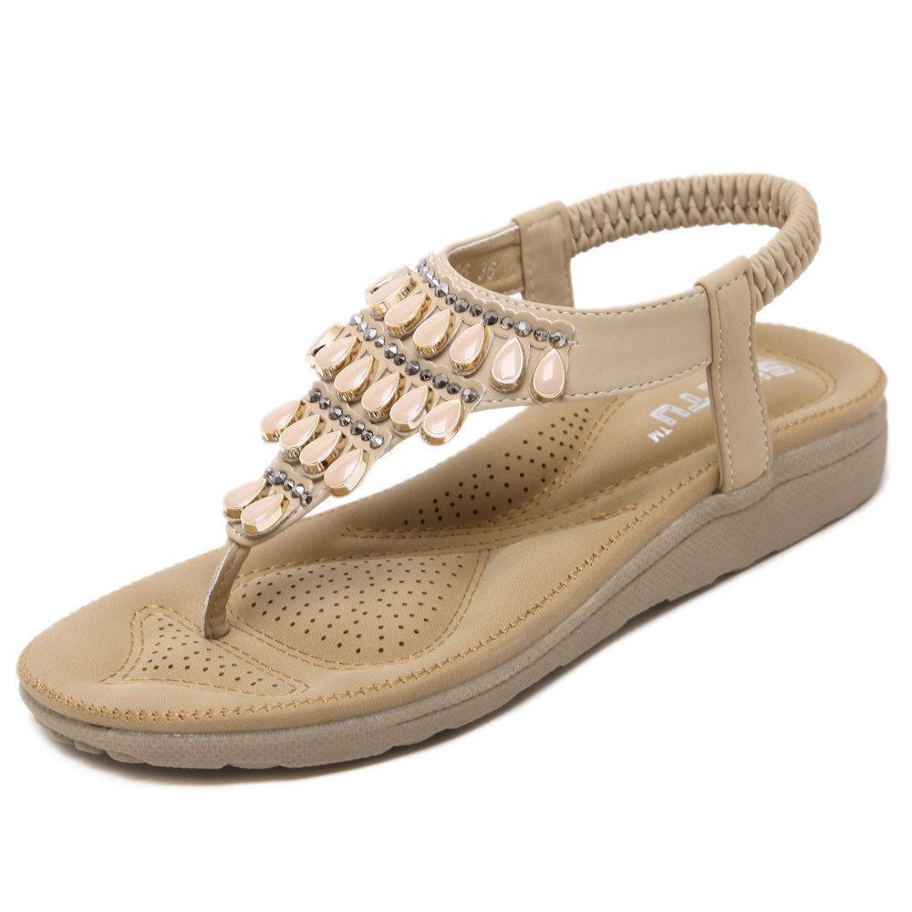 Beaded Bohemia Beach Casual Summer Flat Sandals For Women