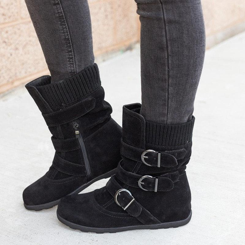 Large Size Suede Metal Buckle Slip On Mid-calf Flat Boots