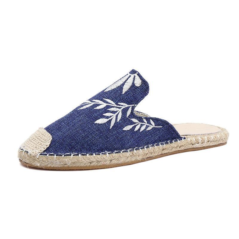 Embroidered Espadrille Flat Slippers Shoes