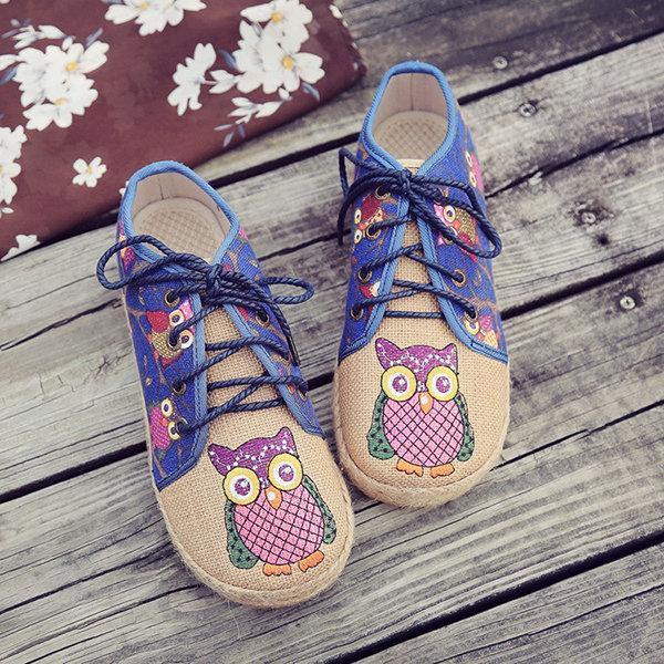 Pattern Owl Cute Colorful Cloth Lace Up Shoes