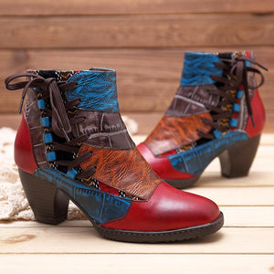 Retro Genuien Leather Splicing Warm Lining Lace Up Zipper Ankle Boots