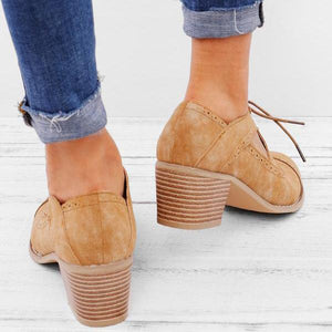 Lace-up Low Heel Oxford Shoes Women Daily Loafers