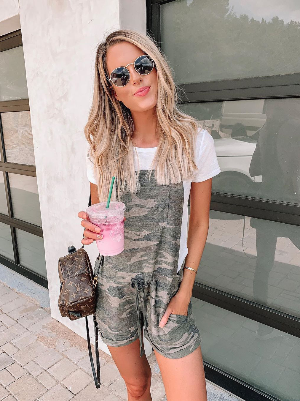 Adjustable Strappy Camouflage Print Jumpsuit Casual Short Overalls