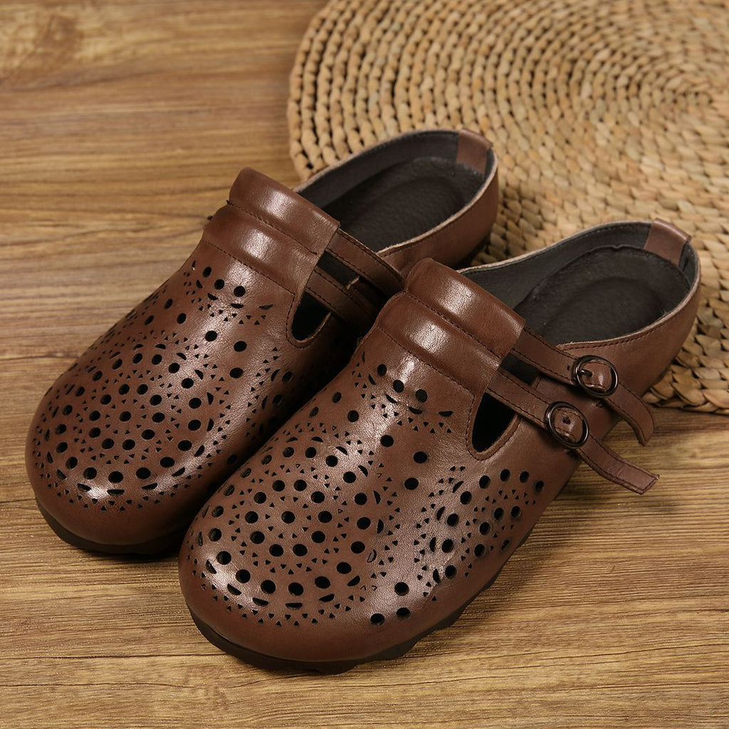 Women's Retro Genuine Leather   Slippers Flat Shoes