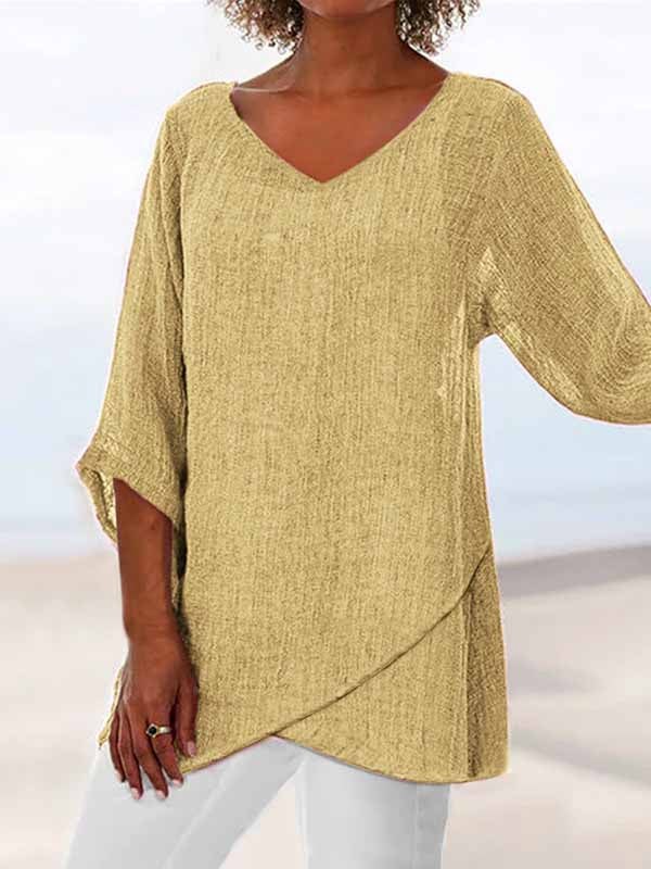 V-neck Linen Plain Casual Asymmetric 3/4 Sleeve Plain Casual Loose Blouse Tee