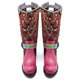 Women Bohemia Genuine Leather Floral Pattern Splicing Zipper Boots