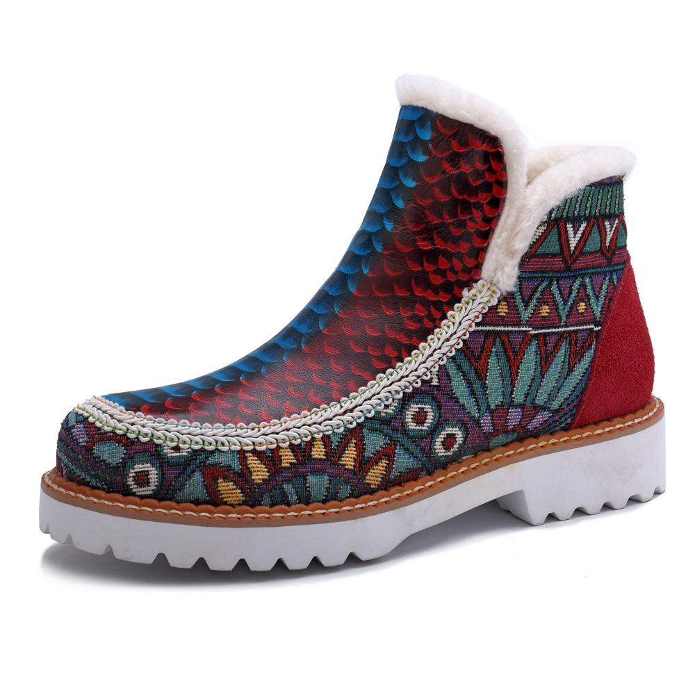 Women's  Retro Ethnic Style Handmade Genuine Leather Stitching Boots