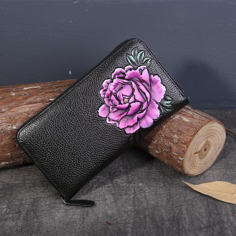 Ethnic Style Genuine Leather Hand-Painted Peony Long Wallets