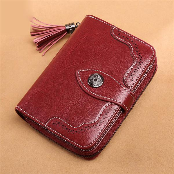 Retro Genuine Leather Multi-slots 24 Card Slots Short Wallet Card Holder Purse