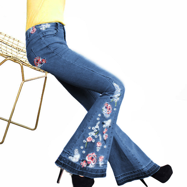 70s Chic Floral Embroidered High-Rise Bell Bottom Flare Jeans Broad Feet Long Denim Pants