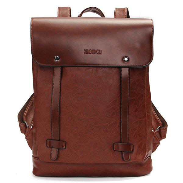 Men Women Vintage  Leather Laptop Backpack Shoulder Bags