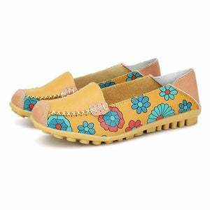 Floral Print Color Matching Soft Comfortable Slip On Flat Shoes