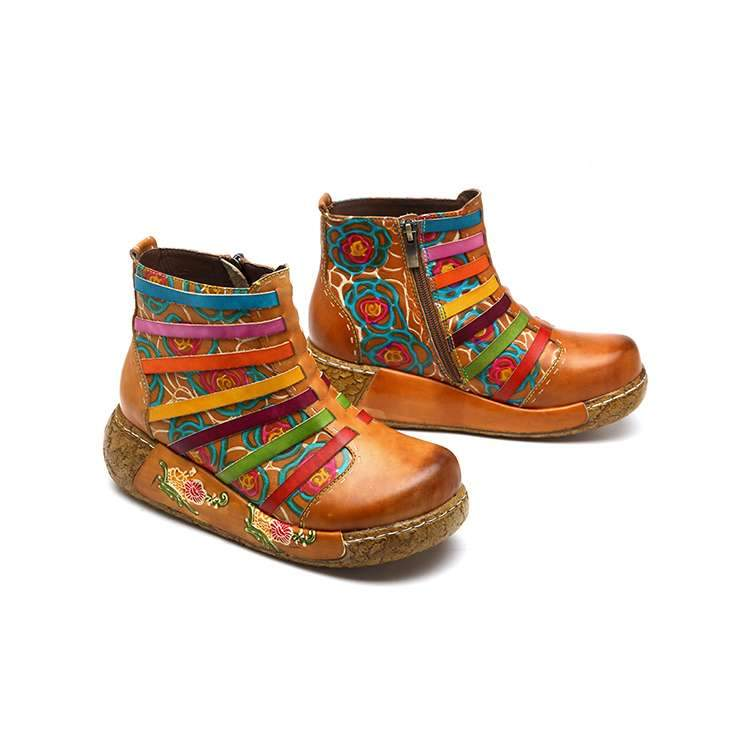 Rainbow Stripe Thick Bottom Boots