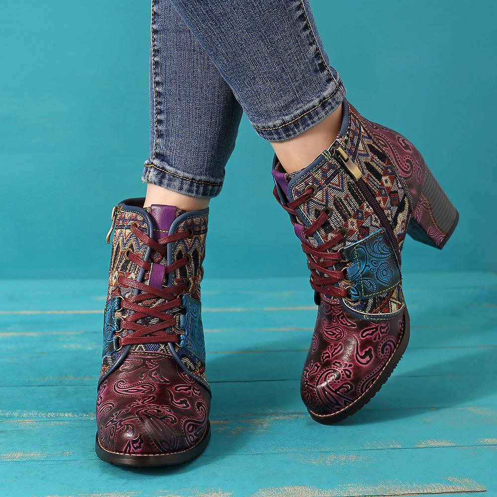 Women's Retro Lace-Up Boots