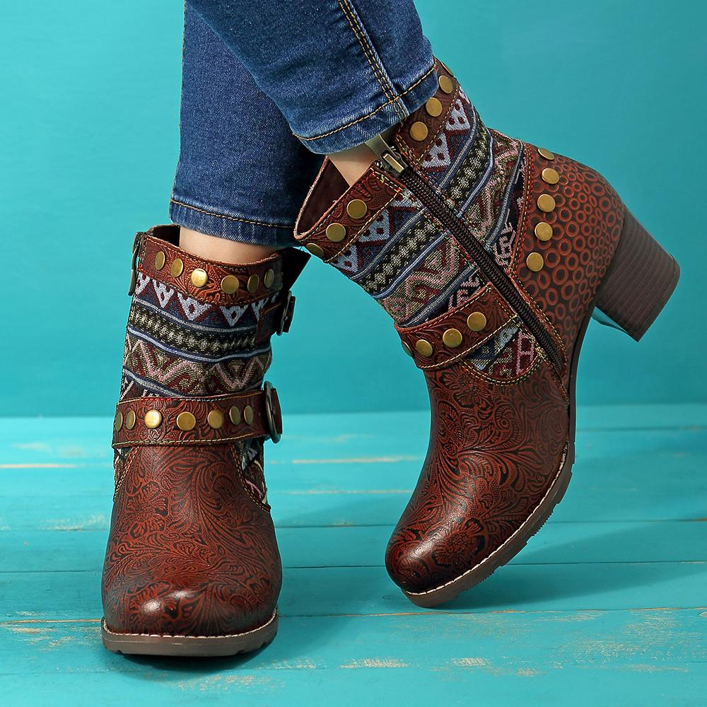 Retro Buckle Thick Heel Boots
