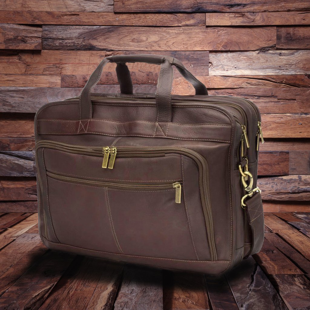 Men Deluxe Large Leather Briefcase Bags