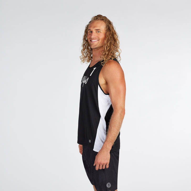 Men's Athlete Jersey Tank #1 Black/White