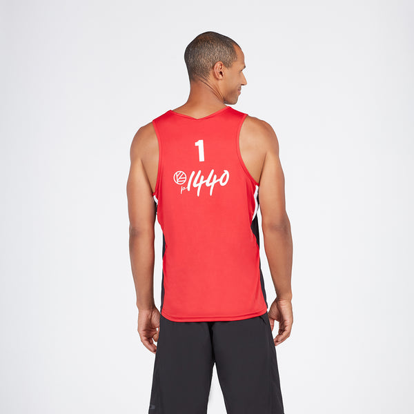 Men's Athlete Jersey Tank #1 Red/Black/White