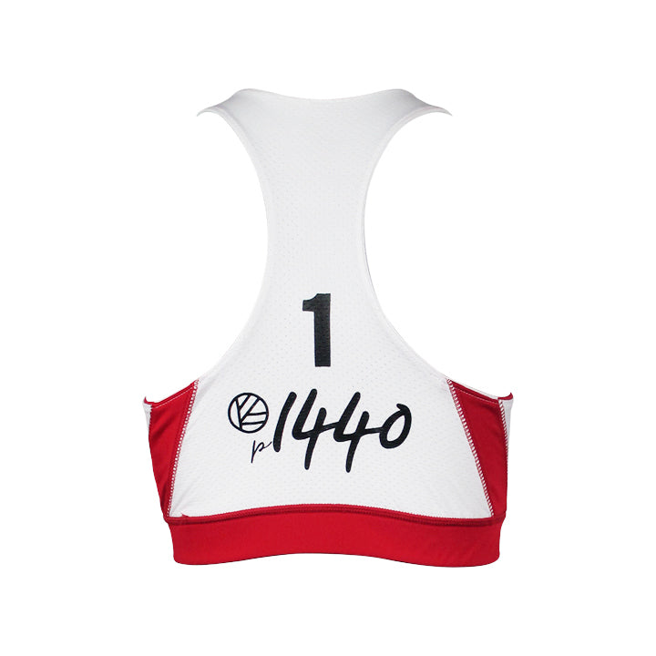 Women's Jersey Sports Bra #1 - Red/White