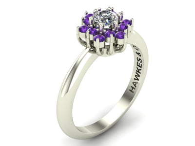 AMETHYST & DIAMOND BOUQUET RING