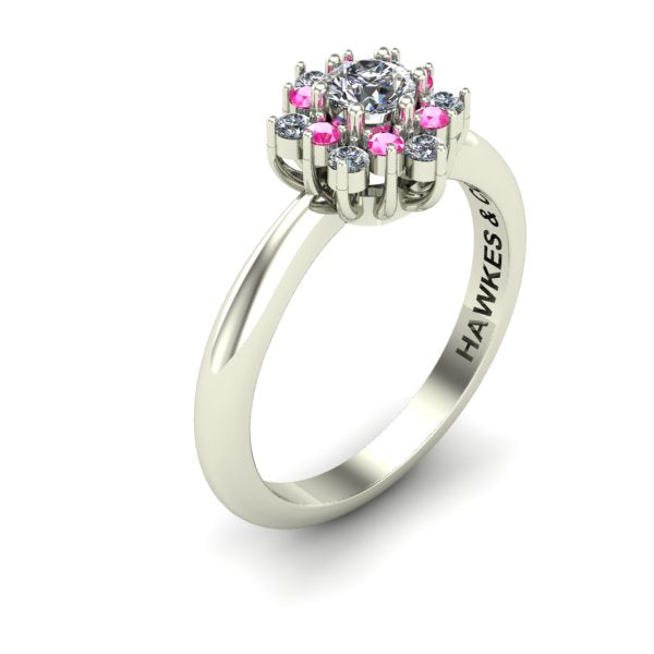 DIAMOND CENTER, SURROUND BY PINK SAPPHIRES AND DIAMONDS, BOUQUET RING