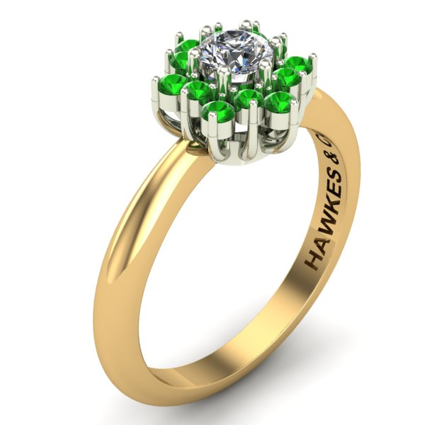 TSAVORITE & DIAMOND BOUQUET RING