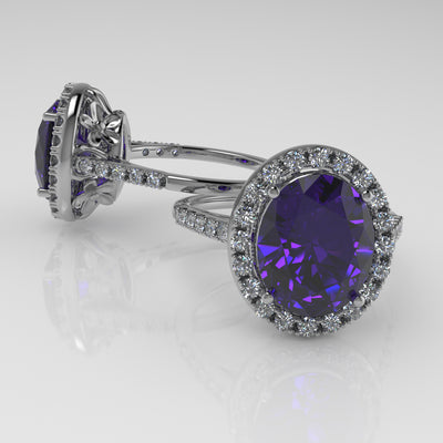 5.03ct Tanzanite And Flowers, Fancy Checkerboard Faceted Tanzanite, Diamond Halo Ring