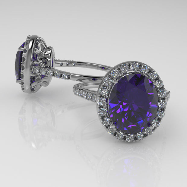 4.24ct Tanzanite And Flowers, Fancy Checkerboard Faceted Tanzanite, Diamond Halo Ring